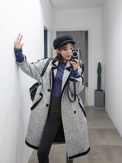 마랑배색울코트-coat